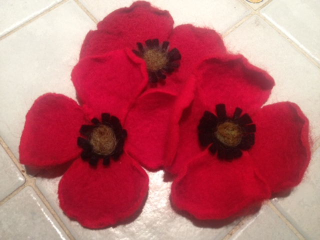 Jennifers needle felted poppies