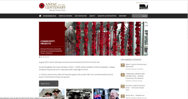 Anzac Centenerary Website Front Page