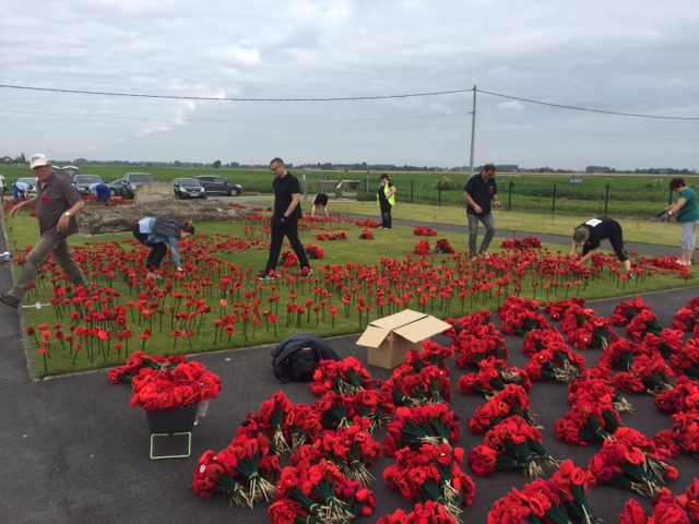 Planting Poppies with French Rotarians July 2016 at Cobbers Day 1